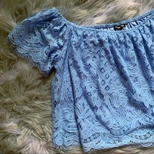 EXPRESS• blue lace off the shoulder cropped top